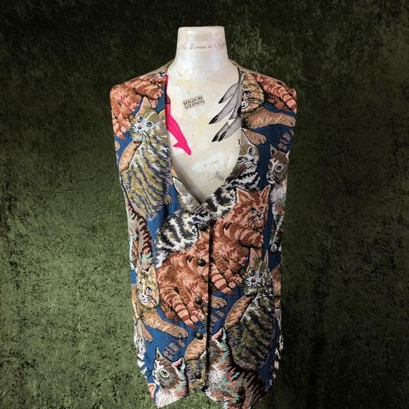Vintage Jackets & Blazers - VINTAGE ⚡️ 1990s Bobbie Brooks cat vest